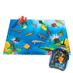 Shark And Stingray Playset: 12 Piece Toy Set In Clip Bag For Play On The Go! front-918793