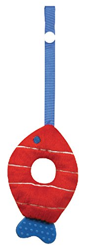 Stephan Baby Soft Plush Fishy Teether Toy with Stroller Clip, Red and White