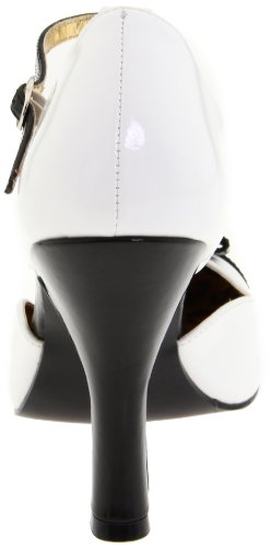 Pleaser Women's Smitten-10/WB T-Strap Pump,White/Black Patent,9 M US