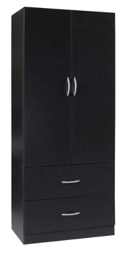 Why Should You Buy Home Source Industries RL12224 Wardrobe with 2-Door and 2-Drawer, Black
