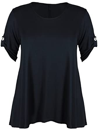 New Womens Plus Size Stretch Fit Round Neck Plain Button Tops Ladies Three Quarter Turn Up Sleeve T-Shirt Top Black Size 14