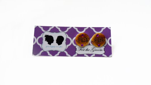 Grooms I DO Cufflinks with Colored Crystal-Antique Gold Charm- Purple Stone