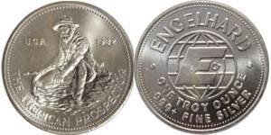 Engelhard Prospector silver 1 oz . Solid .999 Fine Silver Round