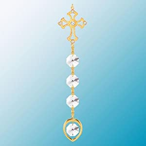 24K Gold Plated Hanging Sun Catcher or Ornament..... Cross Topped Crystal Chain with Clear Swarovski Austrian Crystal