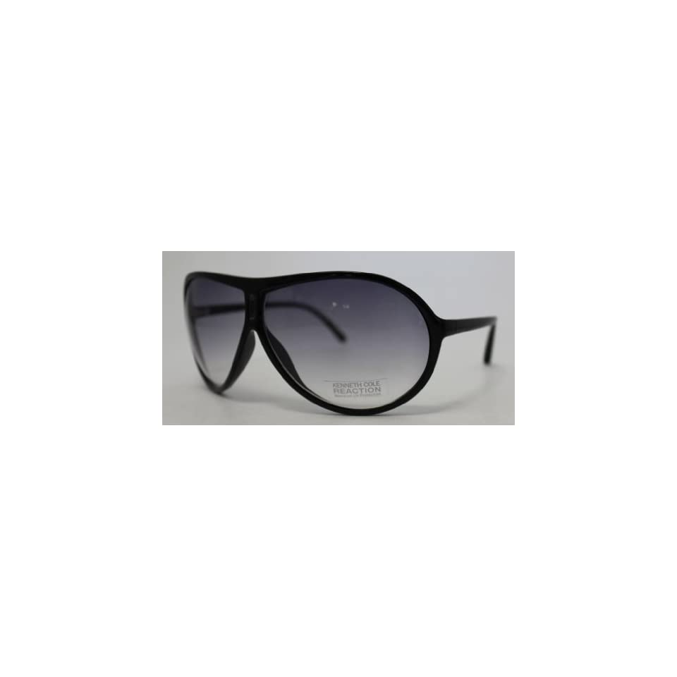 Kenneth Cole Reaction Plastic Aviator Sunglass Black / Smoke Gradient Lenses KC1140 2B