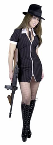 Sexy Black/White Gangster Moll Costume (Size: Large 11-13)