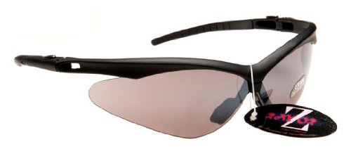 Rayzor Professional Lightweight UV400 Black Sports Wrap Cycling Sunglasses, With a Smoked Mirrored Anti-Glare Lens.