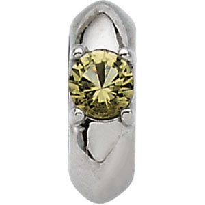 14k White Gold Baby Ring Pendant August – Size 6 – JewelryWeb