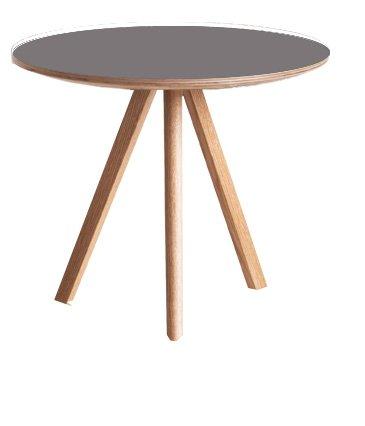 HAY Esstisch Copenhague Table 20 - Ø120 cm - Gestell klar lackiert - Tischplatte Linoleum grau Ronan and Erwan Bouroullec, Schichtholz, Eiche, Linoleum