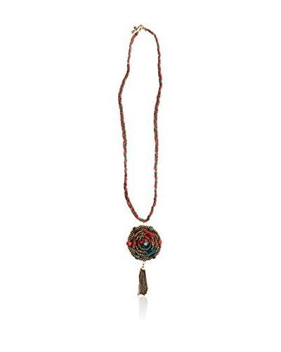 Alibey Collar largo trenzado cordón con cadena fina y detalle de colgante y borla de cadenitas Verde