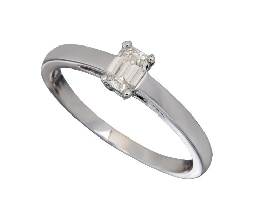 18ct White Gold Diamond Engagement Ring With Certified Emerald Cut Diamond Solitaire, 1/3 Carat Diamond Weight