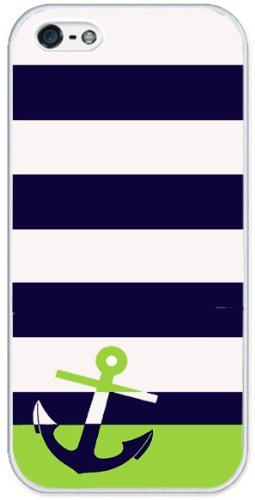 iPhone Rubber Case - Navy/Lime Green Anchor (iPhone 5 White Rubber Case)