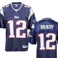 Tom Brady Jersey: Reebok Navy Replica #12 New England Patriots Jersey - Large