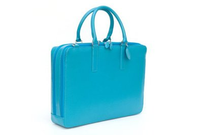 Turquoise blue leather briefcase or laptop bag