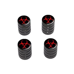 Zombie Outbreak Response Vehicle Red Biohazard - Tire Rim Valve Stem Caps - Black