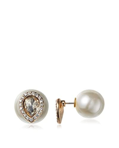 Kenneth Jay Lane Crystal Teardrop Front and White Pearl Back Post Earring