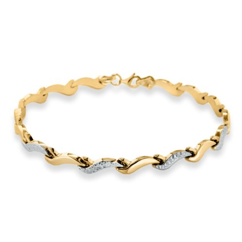 9ct Gold Bracelet Wave Chain in Two-Tone Yellow and White Gold