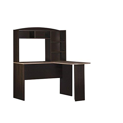 Altra Dakota Space Saving L Desk with Hutch Espresso/Rustic Medium Oak Oak Desk Accessories