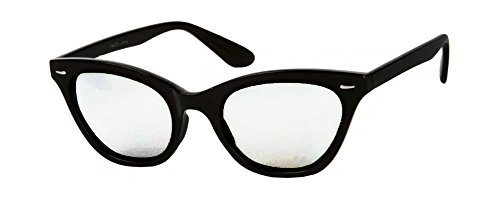 [Retro 50s Nerd Glasses with Black Frames & Clear Lenses] (Geek Chic Glasses)