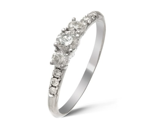 Ariel 18ct White Gold 1/2ct Certified Diamonds Trilogy Engagement Ring