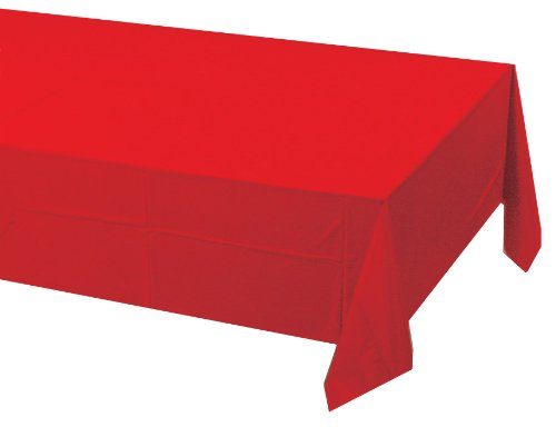 Creative Converting Touch of Color Plastic Lined Table Cover, 54 by 108-Inch, Classic Red