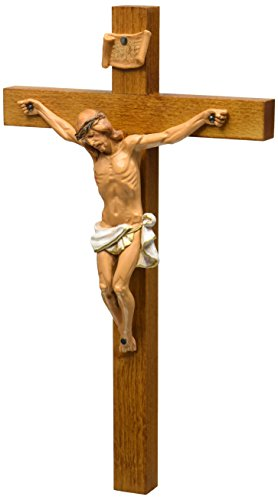 Crucifixes Fontanini Crucifix Features a Hand Painted Body of Christ on a Wood Cross, 12-Inch