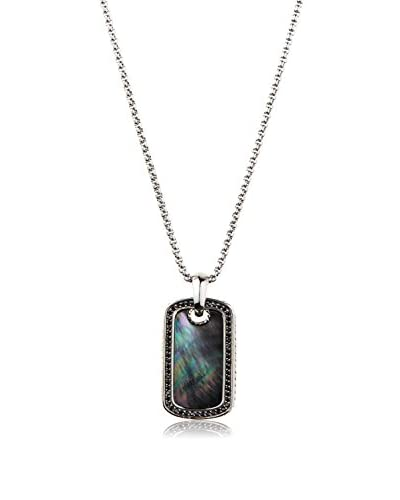Stephen Oliver Mother of Pearl and Black CZ Pendant Necklace In Silver