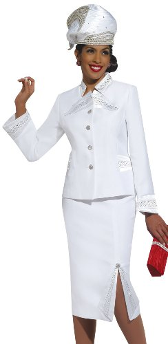 30957aa8cb5 Pure White Elegant Ladies Special Occasion First Sunday Church Suit 11262