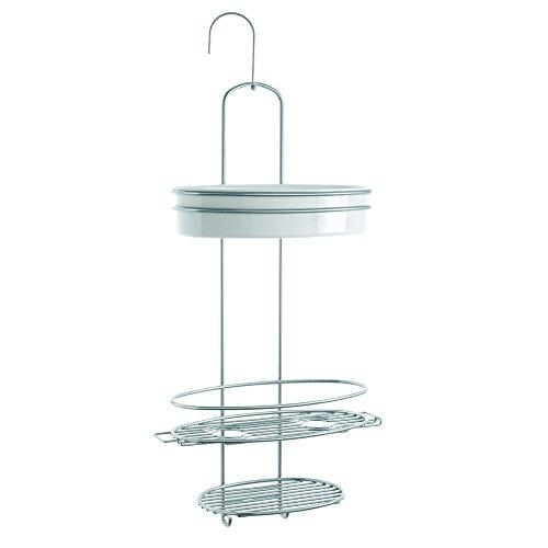 Metaltex Orbit-Porta saponetta da doccia, colore: Argento/Bianco