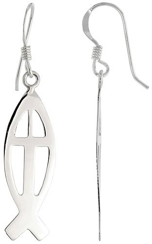 Sterling Silver Christian Fish Cut-out Dangle Earrings, 1 1/4 inch (31 mm) tall