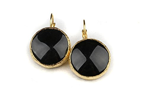 Bijuland Black Round Onyx 24K Gold Plated Brass Earrings