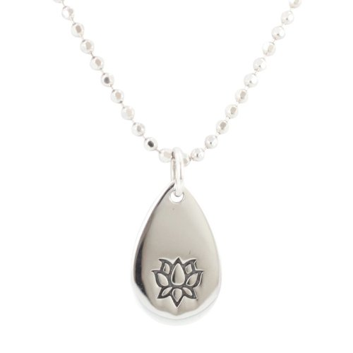 Lotus Blossom Flower Pendant In Sterling Silver On An 18 Inch Rhodium & Sterling Silver Diamond Cut Bead Chain Necklace, #7051
