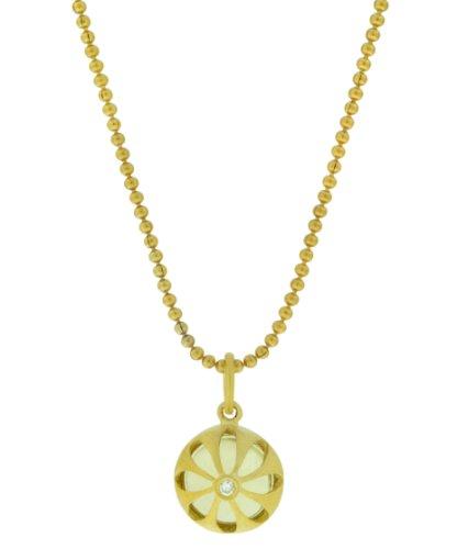 Pomegranate Vermeil Lemon Quartz Cubic Zirconia Domed Pendant Necklace 40cm