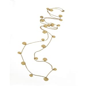 Very Long Chain Necklace with Attached Coins