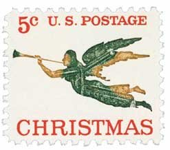 #1276 - 1965 5c Christmas Angel Postage Stamp Numbered Plate Block (4)