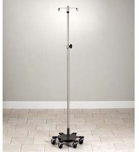 Stainless Steel Infusion Pump Stand, 6 leg, space-saver, heavy duty with 2 hooks