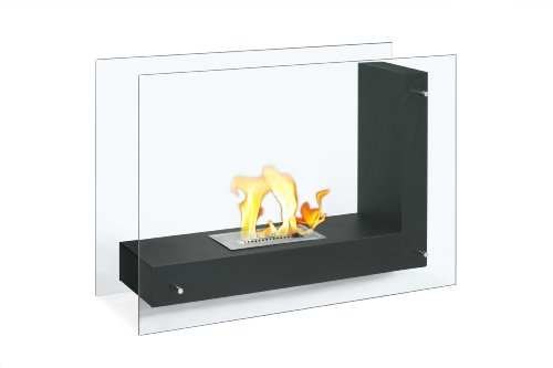 Ignis Vitrum L Black Freestanding Ventless Ethanol Fireplace photo B00AMO5IGU.jpg