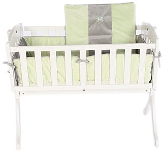 Baby Doll Bedding Cozy Carousel Minky with Embroidery Cradle Bedding Set, Sage
