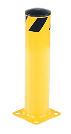 "Vestil BOL-24-5.5 Yellow Powder Coat Pipe Safety Bollard, Steel, 5-1/2"" OD, 24"" Height"