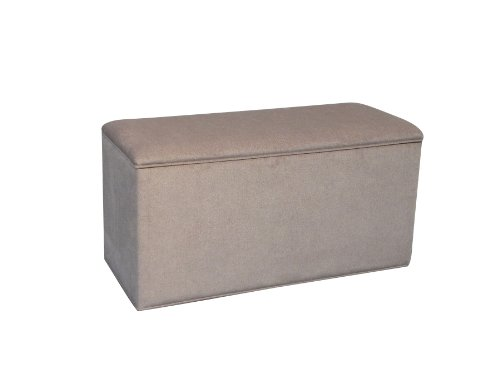 Storage Ottoman Pouffe Seat Stool Box in Beige Chenille Fabric