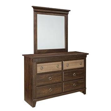 Standard Furniture Weatherly 6 Drawer Dresser w/ Mirror in Cherry & Weathered Brown