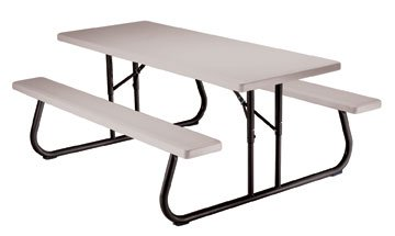 Commercial Folding Picnic Table, 6' Putty