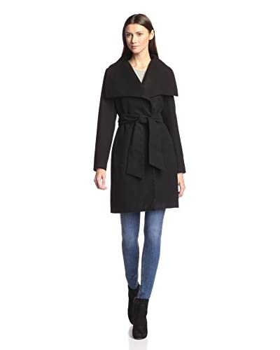 Mo-ka Women's Belted Coat with Oversize Collar