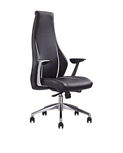 Whiteline Stanford Executive High Back Office Chair, Black/White/Silver