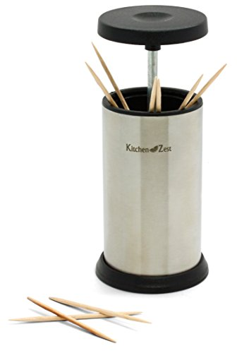 Stainless steel toothpick holder by kitchen zest pop up dispenser with stainless steel body - Pop up toothpick dispenser ...