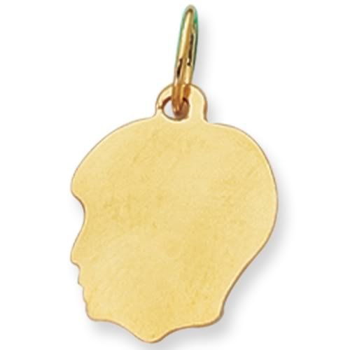 14K Yellow Gold Boy's Head Charm (12 x 21mm)