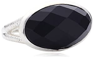 Kit Heath Sterling Silver Black Agate Faceted Ring - Size R