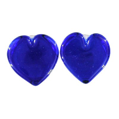 Light Blue 1 Sided Heart Shaped, 1 Sided Round Shaped Glass Plugs, Doubled Flared -9/16