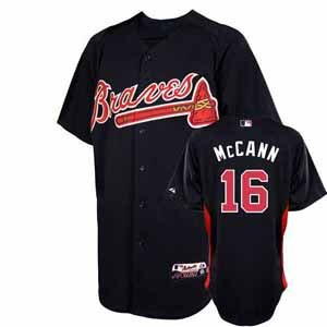 MLB Atlanta Braves Youth Brian McCann 16 Cool Base Batting Practice Jersey, Small, Navy/Red