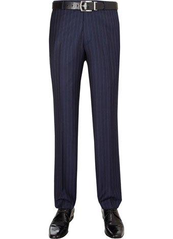 Austin Reed Contemporary Fit Blue Stripe Trousers SHORT MENS 32